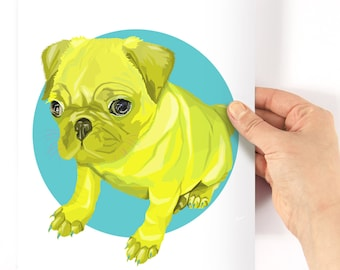 A4 Pug Neon Geometric Print - original drawing