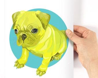 A4 Pug Neon Geometric Print - original drawing