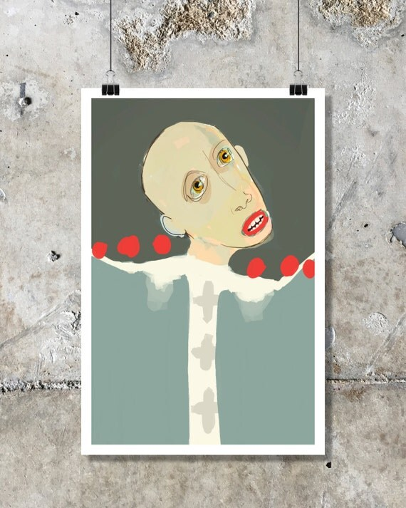 Illustration of woman / man / human, Figurative art, contemporary art, urban style, fine art, print, modern art, expressionism