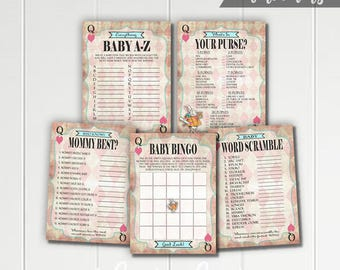 Alice in Wonderland Printable Baby Shower Games - Bingo - Word Scramble - Who Knows Mommy Best - What's In Your Purse - Pink - Mad Tea Party