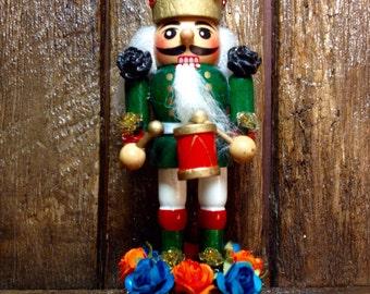Day-of-the-Dead Calavera King / Christmas Skull Nutcracker / Winter Xmas Adornment / Dia De Los Muertos Ornament