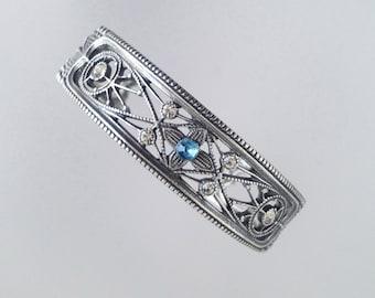 ART NOUVEAU JUGENDSTIL 925 Silver Bracelet Floral Crystals Decor 1900s 1910s - Mint Condition !