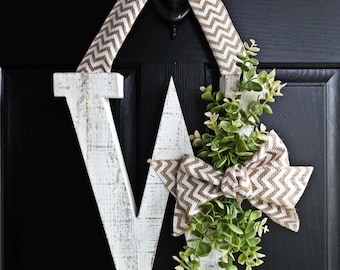 Distressed White Letter, White Monogram Wreath, Door Monogram Wreath, Greenery Wreath, Winter Wreath, Spring Wreath, All Seasons, Year Round