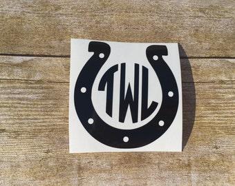 Horseshoe Monogram Decal, Horse Decal, Horse Shoe Decal, Horse Sticker, Monogram Horse Decal, Vinyl Decal, Monogram Decal, Monogram Sticker