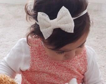 Lace Bow Headband, Lace Headband, Bow Headband, Baby Headband, Lace Bow, Newborn headband, Baby Girl Headband, Beige Lace Headband, Headband