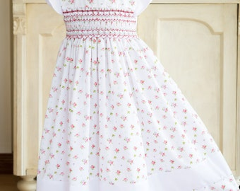 Hand-smocked white cotton dress, age 3, pink and red roses, cap sleeves and band