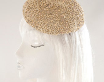 Champagne Cocktail Hat. Hand Beaded Bridal Fascinator. Silk Headpiece. Couture Millinery. Ready to Ship Wedding Headpiece. Fancy Dressy Hat.
