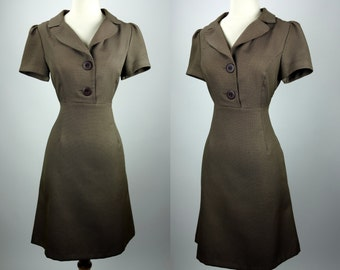 R&K Originals brown dress, short sleeve, button down, casual day dress, medium, fit and flare mini