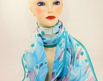 Tulips, Tulip Scarf, Spring Scarf, Summer Scarf, Italian Neck Scarf, Multicolor Scarf, head scarf