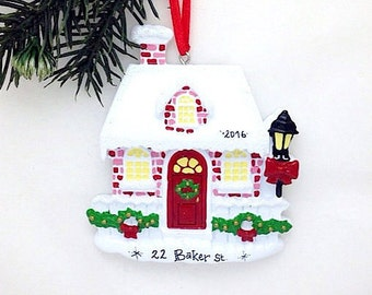 FREE SHIPPING Red Brick House Personalized Christmas Ornament / New Home Ornament / Home for the Holidays / Home for Christmas