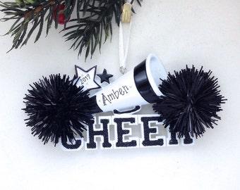 Cheerleader Christmas Ornament / Cheerleading Ornament Black Pom Poms / Personalized Christmas Ornament / Cheer Team Ornament