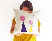 Childrens art pillow embroidered Child's drawing pillow Custom made cushion Grandparents gift Linen embroidered pillow cover Grandma gift