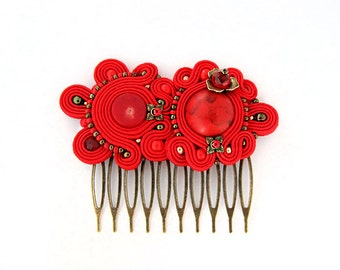 Red hair comb, soutache headpiece, Red hairpiece, Soutache hair accessory