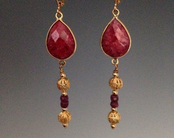 "Ruby earrings ~ Ruby Jewelry ~ July birthstone ~Valentines day jewelry - red and gold jewelry ~ women's jewelry ~ red earrings, ""Ruby Drops"""