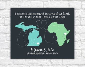 Long Distance Love Quote Maps Personalized Two Maps Long Distance Romance Love