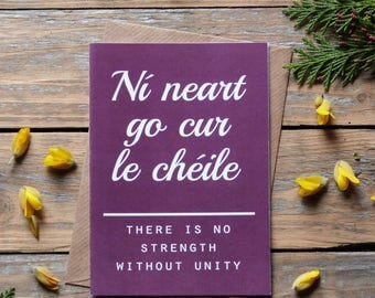 Irish Proverbs Card - Ní neart go cur le chéile - Irish language - Gaeilge - Sayings of Ireland - there is no strength without unity - sf5