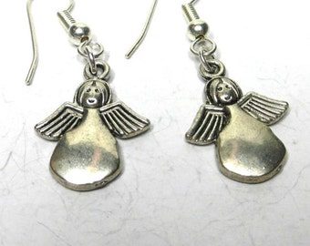 Christmas Jewellery, Christmas Earrings, Silver Angels, Themed Gift, Stocking Filler