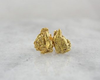 Golden Nugget Stud Earrings, Vintage Gold Rush Style Jewelry 0YREY0-D