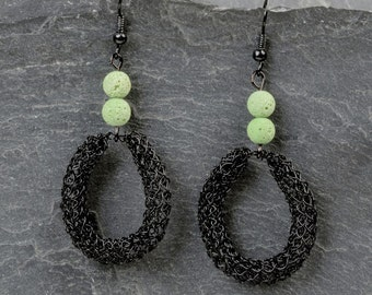 Black teardrop earrings, bohemian earrings, black drop earrings, Lava jewelry, Gift for her, 0121-03