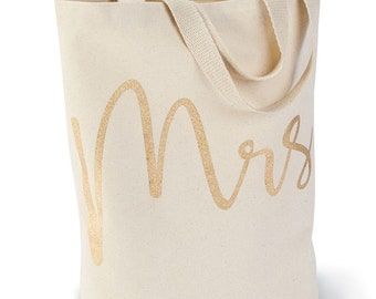 Mrs Canvas Tote-Mud Pie Gold Jute Bride Bag Personalized - Just Married Shower Gift - Wedding Gift
