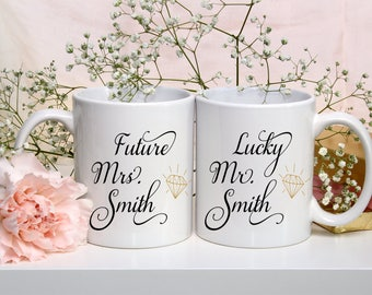 Personalized Engagement Gift, Bride to Be Mug, Future Mrs Mr, Gift for Bride and Groom, Wedding Gift, Bridal Shower, Team Bride, Team Groom