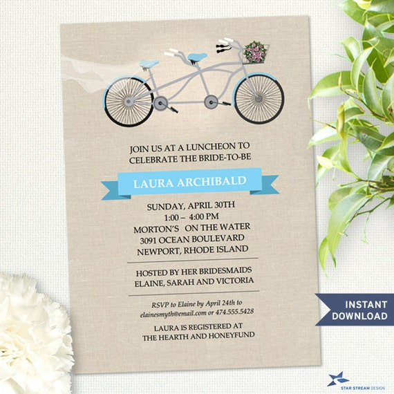Printable Tandem Blue Bicycle Faux Linen Bridal Wedding ...