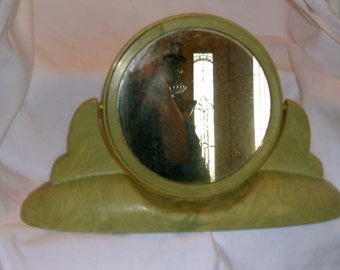 CONS-O LITE, Vanity Makeup Mirror, Swivels to Magnified Mirror on Reverse, Avocado Green with Striations, Mid Century