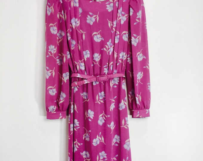 Vintage 1970s Secretary Dress Charlee Allison For Eljay Fuchsia Floral Dress Size 7/8 Made in Hong Kong