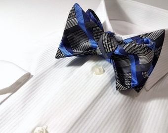 SELF TIED Bow Tie with Plaid Checks in Horizon Blue Navy Platinum Charcoal Grey and Black