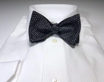 Silk SELF TIED Bow Tie in Black Grey Charcoal Silver
