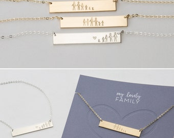 "Personalized ""Stick Family"" Bar Necklace! Gift for Best Friends, Sisters, Moms • Custom Hand ..."