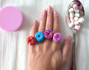 Miniature donut ring, kawaii food ring, food jewelry, christmas gifts for her
