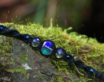 Crystal Hemp Bracelet - Black Hemp
