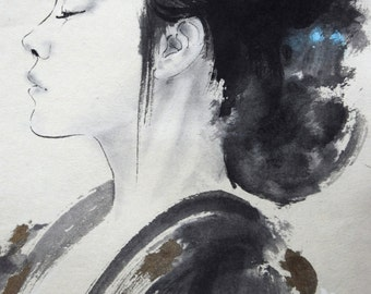 Beautyful Girl, Little Geisha, Geisha Painting, Butterfly, Japanese Woman, Original Artwork, Sumi-e, Scroll, Mens Gift, Abstract