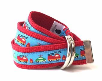 Canvas Belt - Child Belt - Firetruck Belt - Boys Belt - Canvas Belt - Trucks Belt - Red Toddler Belt - Boys Canvas Belt - Child Canvas Belt