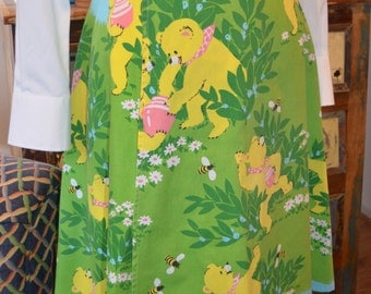 Vintage RARE 70s Katasha's Unusuals green honey bear wrap skirt S / M small medium