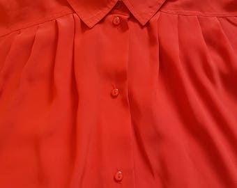 Red Short-Sleeved Blouse by COMO, Size Medium-Large