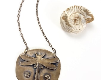 Dragonfly in Bronze Pendant Necklace