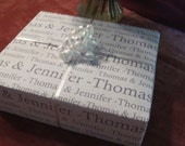 "Personalized Wedding Gift Paper Wrapping Paper : Bride and Groom Names 24 x 36"" sheet"