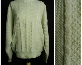 80s mens womens cream WOOL aran honeycomb knit sweater jumper made in Italy L ~ XL
