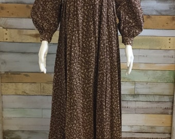 Autumnal print prairie style  70's rare hand printed Laura Ashley maxi dress 8/10 'Dyers and Printers' made in Wales