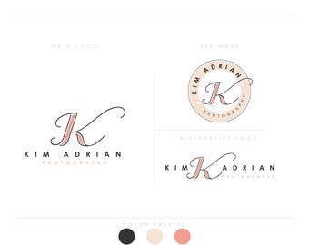 modern initials LOGO 3 letters design businesscards  simple modern feminine branding- logo Identity artist makeup wedding photographer rose