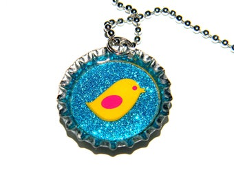 NEW Bird Glitter - Bottle Cap Necklace