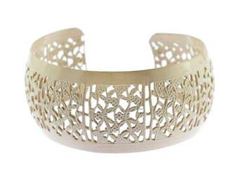 Pale Pink Enamel Bracelet, Pink Flower Cuff Bracelet, Pink Cuff Bracelet, Enamel Cuff Bracelet