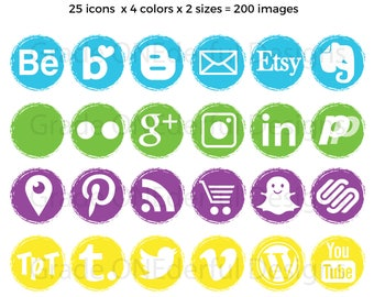 Social Media Icons, Social Media Graphics, Blog Buttons, Website Graphics, Blog Design, Commercial Use