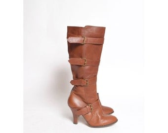 Vintage 90s Brown Real Leather Zipper Boots with Buckles
