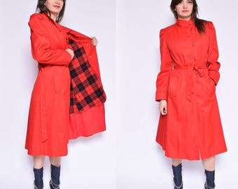 Vintage 80's Red Button Coat / Belted Red Coat - Size Medium