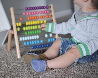 Denim Khaki Baby Shoes // Chambray Blue Borwn, Cotton Canvas Moccs, Infant Shoes, Booties, Baby Moccasin, Crib Shoe, Girl Shoes, Neutral Boy