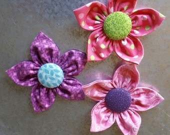 Set of 3 Spring Color Fabric Flower Magnets - Purple and Pink