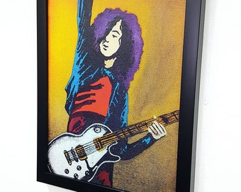 Jimmy Page Guitar Led Zeppelin RETRO -  Framed Wall Art Giclee Canvas Paint,Painting, Poster,Print- Great Rock'n'Roll Home Decor
